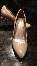 "Aldo Taupe (Greyed Beige Tan) Patent Leather Dress Pumps 38 or 7.5 B M - 4"" Heel"