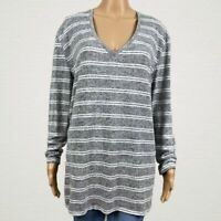 BP. Nordstrom Striped V-neck Pullover Tunic Sweater Shirt MEDIUM Gray White