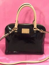 Michael Kors Cindy Large Monogram Dome Satchel Handbag Patent Black $298. Nwt