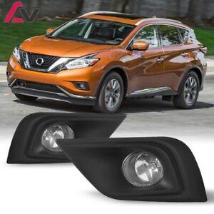 15-17 For Nissan Murano Clear Lens Pair Fog Light Lamp+Wiring+Switch Kit