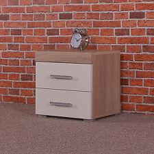 2 Drawer White & Sonoma Oak Effect Bedside Cabinet / Table Bedroom Furniture