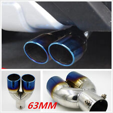 1Pc 63mm Neo Chrome Colorful Blueing Stainless Steel Car Rear Dual Exhaust Pipe