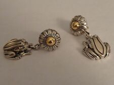 B. Kieselstein Cord 925 & 14k Gold Lily Pad and Frog Earrings
