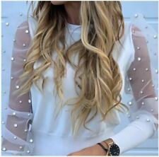 Women Blouses Lace Puff Sleeve Female Pearl Beaded Tops Ladies Blouse White 2XL