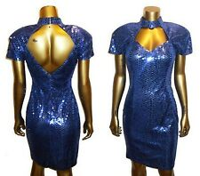 Vtg Glam Blue Cutout Detail Sequins Embellish Dolman Sleeve Fitted Bodycon dress