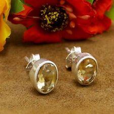 925 Sterling Silver Women Fashion Stud Earrings Citrine Stone Indian Jewelry