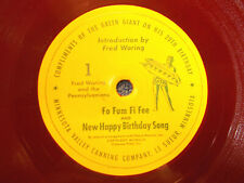 "Fred Waring 7"" 78 Green Giant 20th Birthday E+ Cond Fo Fum Fi Fee/Happy Birthday"