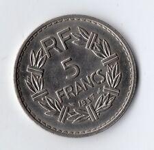 TOP QUALITE MONNAIE DE 5 FRANCS LAVRILLIER NICKEL DE 1937 @ BELLE QUALITE, PROMO