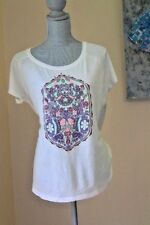 NWT LUCKY BRAND WOMENS L IVORY FLOWERS STAMP SHIRT TEE TOP SHORT BLOUSE SLEEVE