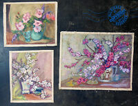 3 Fabulous MID CENTURY MoDerN Oil Painting 1950s pink white red flowers SIGNED