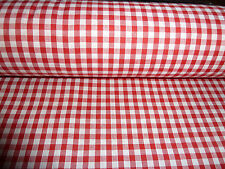 """1/4"""" RED  AND WHITE  SMALL GINGHAM CHECK POLY COTTON BY THE METRE"""