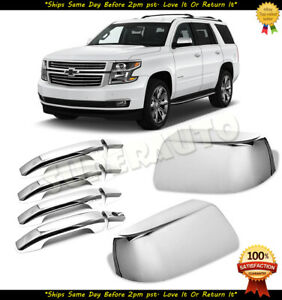 For 2015-2018 Chevy Tahoe Chrome Top Half Mirror+FULL 4DR Handle Cover No Smart