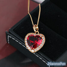 Fashion Necklace18k Yellow Gold Plated Red Zircon Ruby Gem Heart Pendant Jewelry