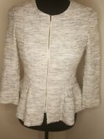 H&M Divided Women's Gray & White Zip Up Jacket Career 3/4 Sleeve Sz 6