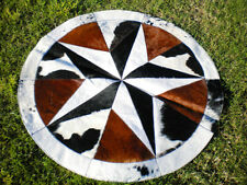BIG ! Star Cowhide Rug Cow Hide Skin Carpet Leather Round patchwork S40 area