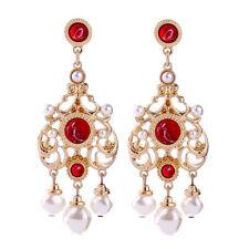 Hollowed Out Geometric Dangle Drop Earrings Ethnic Crystal Ruby Pearl Chandelier