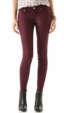 29  7 FOR ALL MANKIND High Shine Gummy Wax Coated Skinny Jeans  Merlot Red$189