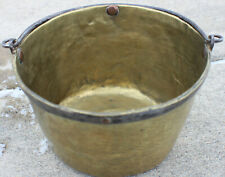 Antique 19th Century Small Polished Brass Pot w/ Wrought Iron Handle and Copper
