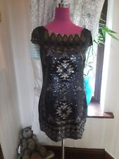 Stunning  All Saints Paloma Sequin Dress Black Size 8 Excellent Condition