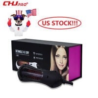 Black Ionic Infrared Hair Straightener Hair Dryer Brushes Hot Air Paddle Comb