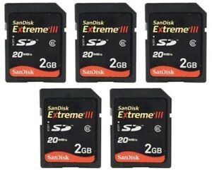 LOT OF 5 SanDisk 2GB 20MB Extreme III Class 6 SD Digital Card Memory Camera PDA