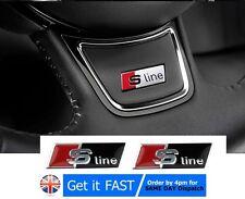 2x S line Black Alloy Wheel Badge Emblem Sticker For Audi A1 A3 A4 A5 A6 A7 A8