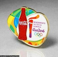 OLYMPIC PINS BADGE 2016 RIO DE JANEIRO BRAZIL COKE COCA COLA SPONSOR TORCH RELAY