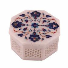 "4"" Marble Jewelry Box handmade semi precious stones inlay decor"