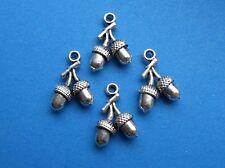10 X Doble bellota de plata tibetana charms/pendants/wiccan / pagan/new edad