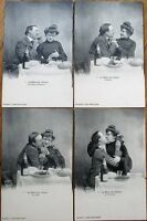 Menu of Love - Couple at Table w/Wine- Set of FOUR 1910 French Fantasy Postcards