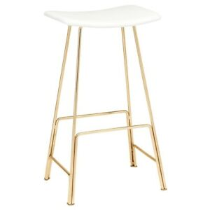 """30""""H Bar Stool Curved White Leather Seat Slanted Polished Gold Steel Legs Modern"""