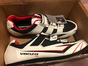 Venzo  MX Men's Road Cycling Riding Shoes - 3 Straps, Black White & Red, Sz 13
