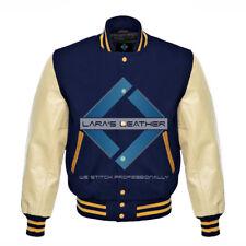 NavyBlue Varsity Baseball Real Leather Sleeves Letterman College Men Wool Jacket