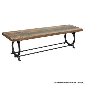 """70"""" Lng Bench Black Iron Base Sold Reclaimed Wood Top Natural Tones Rustic Charm"""