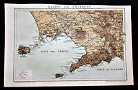 1894.Antica Mappa Geo-Topografica NAPOLI,Dintorni-NEAPEL.UMGEBUNG.Brockhaus.ETNA
