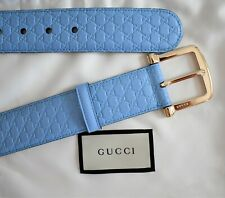 New GUCCI Periwinkle Blue MICROGUCCISSIMA Leather Belt IT-90 US-34/36 281548