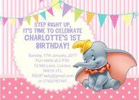 10 x Personalised Children Birthday Invitations Dumbo The Flying Elephant
