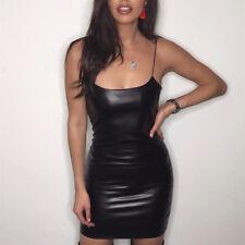 Women's Sexy Bandage Bodycon PU Leather Spaghetti Strap Party Casual Dress Black