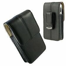 Black Leather Case Clip Luxmo Vertical Pouch for LG Motion 4G / Optimus Regard