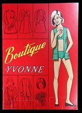 Un-Cut Paper Doll Book Boutique Yvonne w Reversible 2 Sided Costumes c1960s-Mod