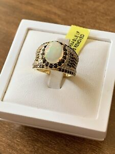 Welo Opal, Black Spinel & White Zircon Yellow Gold Vermeil Sterling Silver Ring