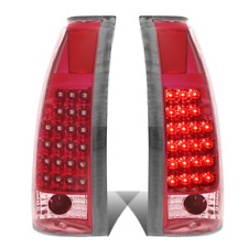 Fit 88-98 C10 Suburban Silverado Chrome Housing Red Led Taillights Tail Lamps