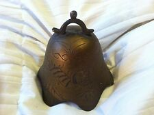 "Vintage Asian Brass / Bronze Bell Without Hammer Etched 3 7/8"" Tall + Free Bell!"