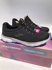 Skechers Women's Summits Fresh Take Black/Gold Shoes (Size 9.5) WIDE FIT