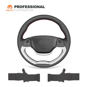Black Leather Steering Wheel Cover for Kia Morning 2011-2016 Picanto 2012-2015