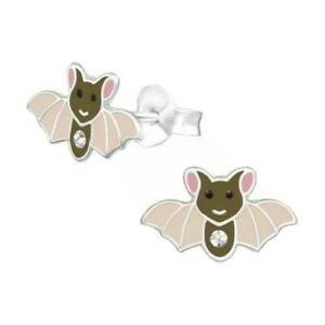 925 Sterling Silver Brown Bat Crystal Stud Earrings