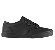 Vans Atwood Boys Young Ladies Black Leather School Shoes Trainers 3-6
