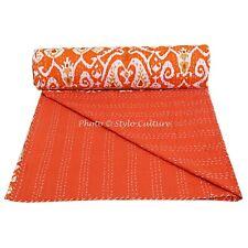 Bettüberwurf Bettdecke Kantha Indisch Baumwolle Tagesdecke Decke Grau Ikat Twin