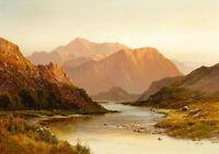 Art Oil painting nice landscape Above Glen Falloch Scotland with sunrise canvas
