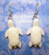 Natural Bone White Turtle Shape Pair Dangling Earrings w/ Hooks # 33085
